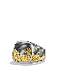 David Yurman Waves Signet Ring With Gold Silver Gold
