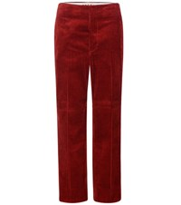 Marni Corduroy Cotton High Waisted Trousers Red