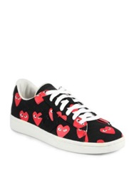 Comme Des Garcons Canvas Lace Up Sneakers Black Red White Red