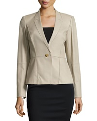 Lafayette 148 New York Patchwork Leather One Button Jacket Putty