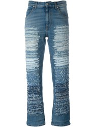 Alexander Mcqueen Distressed Jeans Blue