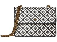 Tory Burch Robinson Woven Leather Convertible Shoulder Black New Ivory Shoulder Handbags