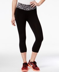 Material Girl Active Juniors' Lace Band Cropped Leggings Only At Macy's Classic Black