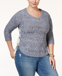 American Rag Trendy Plus Size Pointelle Sweater Only At Macy's Dark Denim Combo