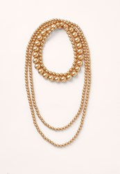 Missguided Gold Layered Peal Necklace