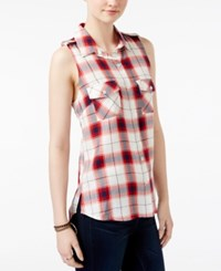 Stoosh Juniors' Sleeveless Plaid Top Red Plaid