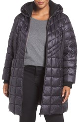 Bernardo Plus Size Women's Quilted Jacket With Down And Primaloft Fill Dark Indigo Moonrock