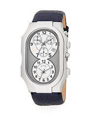 Philip Stein Teslar Signature Chronograph Stainless Steel And Leather Watch Navy