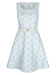 Mela London Pastel Blue Geo Dress With Belt Inchuded Light Blue