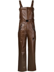 Koonhor Faux Leather Dungarees Brown
