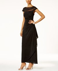 Msk Glitter Illusion Faux Wrap Gown Black