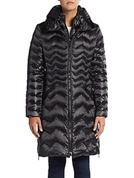 Dawn Levy Karen Chevron Quilted Down Puffer Coat Black