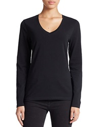 Lord And Taylor Stretch Cotton V Neck Tee Black