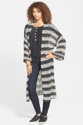 Painted Threads Stripe Hacci Knit Duster Juniors Black
