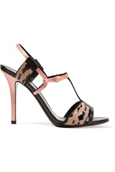 Fendi Zelda Sequin Embellished Lizard Effect Leather Sandals Black