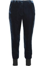 3.1 Phillip Lim Stretch Wool Trimmed Velvet Track Pants Midnight Blue