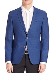Sand Block Check Blazer Blue