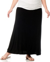 Motherhood Maternity Plus Size Foldover Waist Maternity Maxi Skirt Black