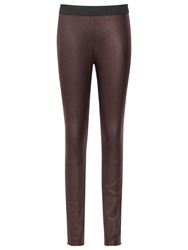 Reiss Leather Carrie Leggings Bordeaux
