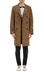 Saint Laurent Men's Leopard Print Trench Coat Tan Size 46 Eu