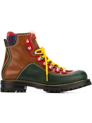Dsquared2 Contrasting Panel Combat Boots Brown