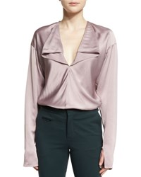 Lanvin Long Sleeve Cascading Ruffle Blouse Blush