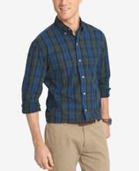 Izod Men's Big And Tall Non Iron Plaid Shirt Estate Blue