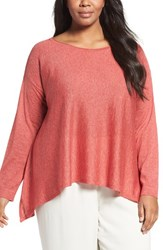 Eileen Fisher Plus Size Women's Fine Gauge Knit Pullover Persimmon