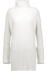 Maison Martin Margiela Mm6 Ribbed Wool Turtleneck Sweater Dress Ivory