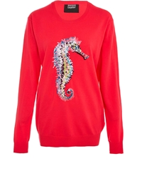 Markus Lupfer Red Seahorse Sequin Jumper