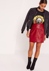Missguided Petite Faux Leather Belted Mini Skirt Red