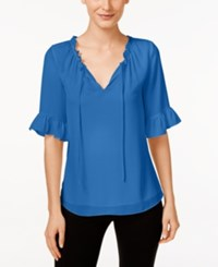 Cece By Cynthia Steffe Short Sleeve Ruffled Blouse Blue Lotus