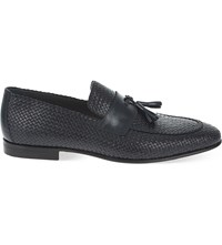 Stemar Woven Leather Penny Loafers Navy