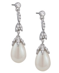 Carolee Earrings Glass Pearl Linear Teardrop Earrings