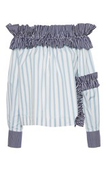 Msgm Striped Off The Shoulder Top