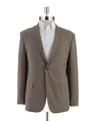 Michael Kors Two Button Checkered Blazer Light Brown
