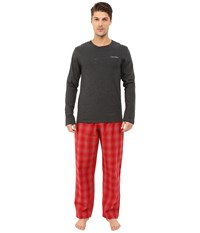 Calvin Klein Underwear Sleep Set Charcoal Heather Top Daniel Plaid Ignite Red Men's Pajama Sets Black