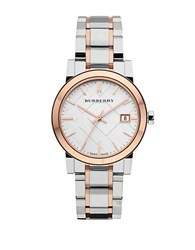 Burberry Ladies Two Tone Watch With Silver Check Dial