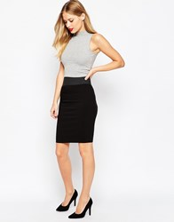 Asos Elastic Waist Detail Pencil Skirt Black