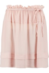 See By Chloe Ruffled Crepe Mini Skirt Pink