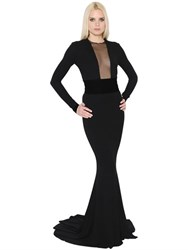 Alexandre Vauthier Stretch Jersey Long Dress W Velvet Belt
