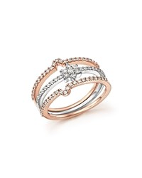 Bloomingdale's Diamond Micro Pave Stackable 3 Ring Set In 14K White And Rose Gold .54 Ct. T.W. White Rose