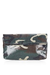 Oversized Camo Sequin Clutch By Jaded London Green