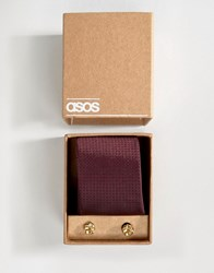 Asos Tie In Burgundy Polka Dot And Cufflink Pack Oxblood Red