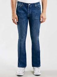 Topman Mid Wash Stretch Flare Jeans Blue