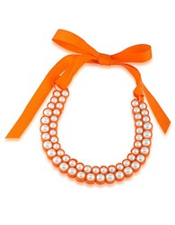 1St And Gorgeous Faux Pearl Bib Necklace White Pearl And Orange