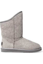 Australia Luxe Collective Cosy Short Laser Cut Shearling Ankle Boots Light Gray