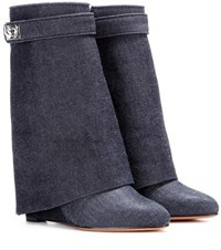 Givenchy Shark Lock Denim Wedge Boots Blue