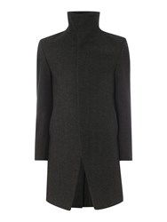 Label Lab Casual Funnel Neck Button Overcoat Grey