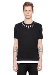 Neil Barrett Flashes Printed Layered Jersey T Shirt